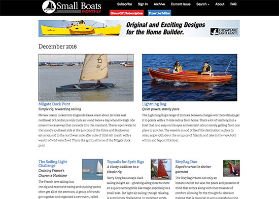 Small Boats Monthly, an online publication of WoodenBoat magazine